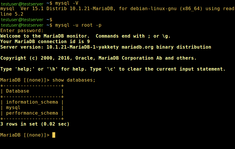Check MariaDB Version
